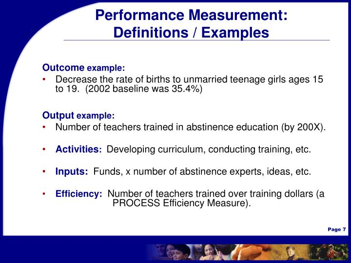 Performance Measurement: Definitions / Examples