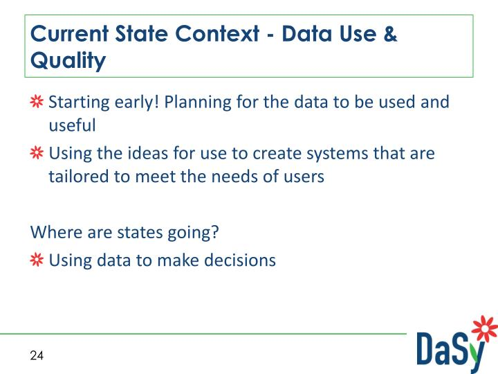 Current State Context - Data Use & Quality