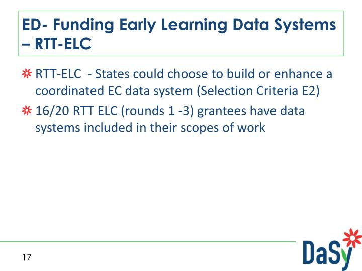 ED- Funding Early Learning Data Systems – RTT-ELC