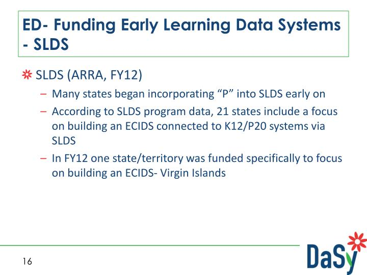 ED- Funding Early Learning Data Systems - SLDS
