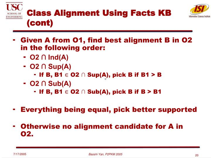 Class Alignment Using Facts KB (cont)