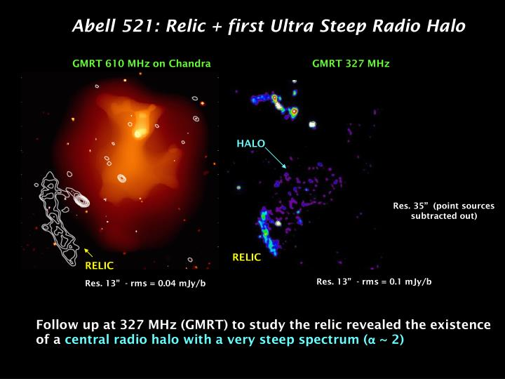 Abell 521: Relic + first Ultra Steep Radio Halo