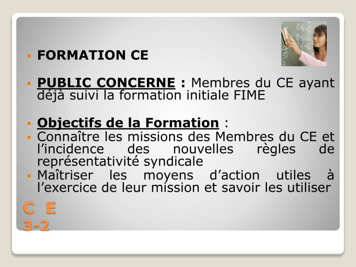 FORMATION CE