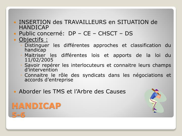 INSERTION des TRAVAILLEURS en SITUATION de HANDICAP