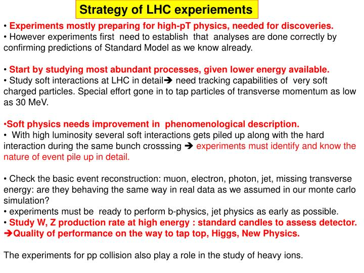 Strategy of LHC experiements