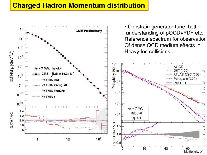 Charged Hadron Momentum distribution