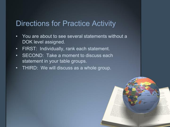 Directions for Practice Activity