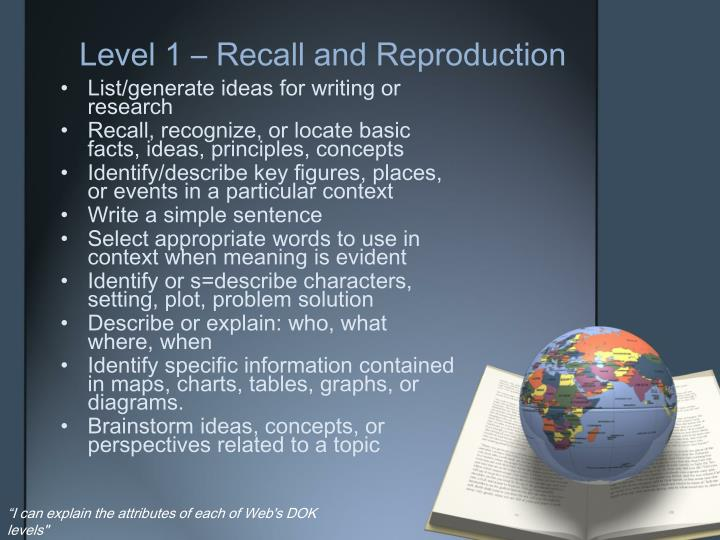 Level 1 – Recall and Reproduction