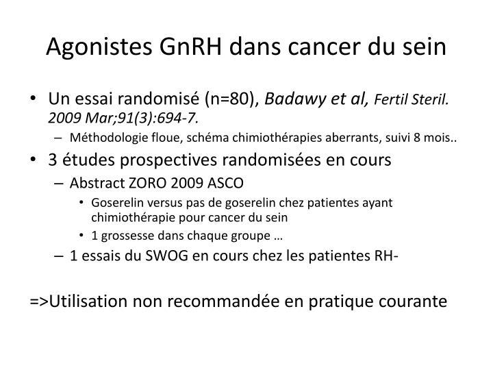Agonistes GnRH dans cancer du sein