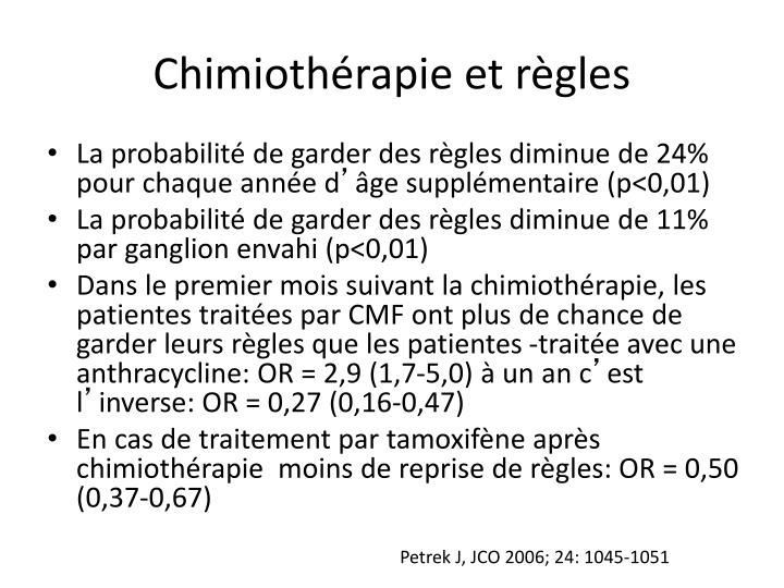 Chimiothérapie et règles