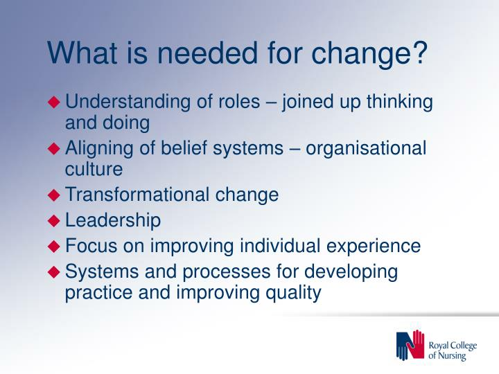 What is needed for change?