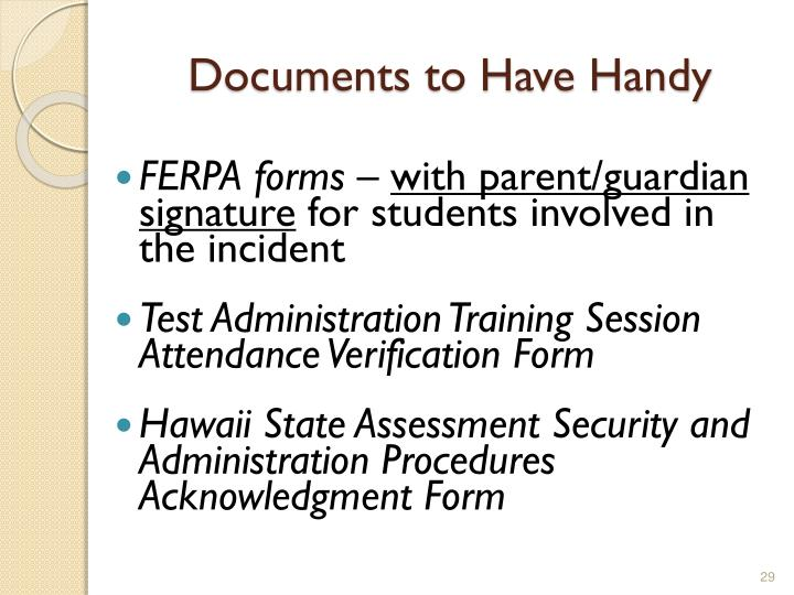 Documents to Have Handy