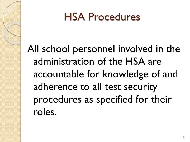 HSA Procedures