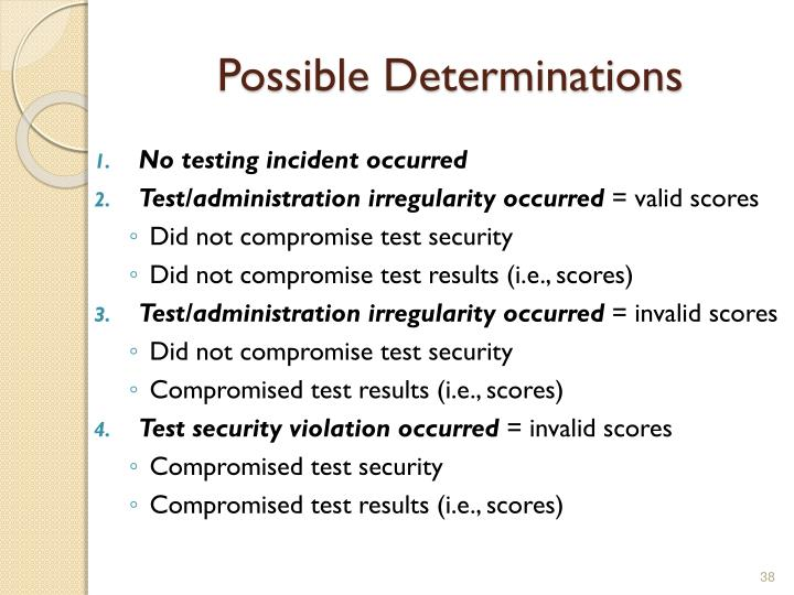 Possible Determinations