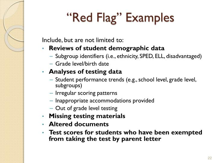 """""""Red Flag"""" Examples"""