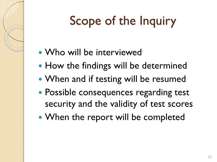Scope of the Inquiry