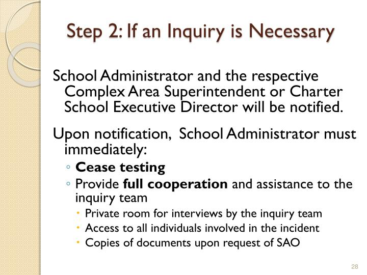 Step 2: If an Inquiry is Necessary