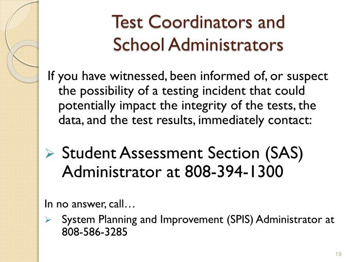 Test Coordinators and