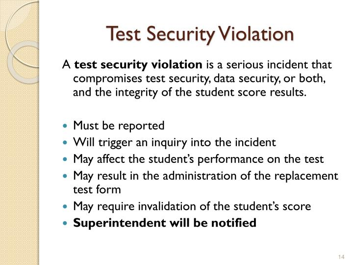 Test Security Violation