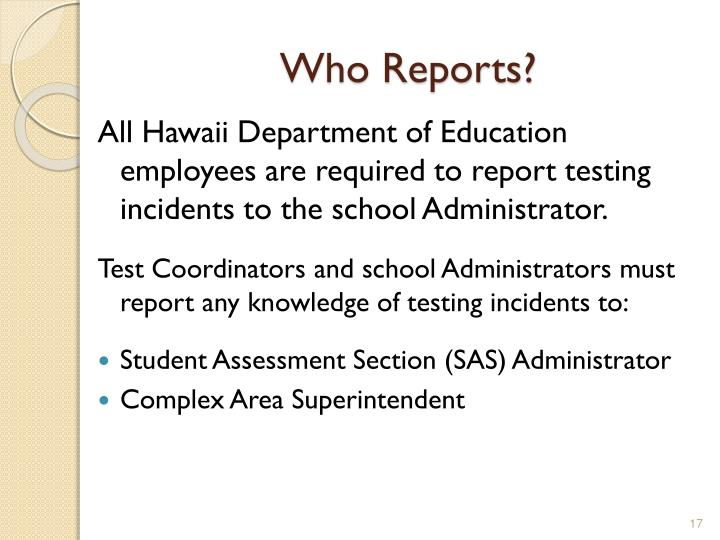 Who Reports?