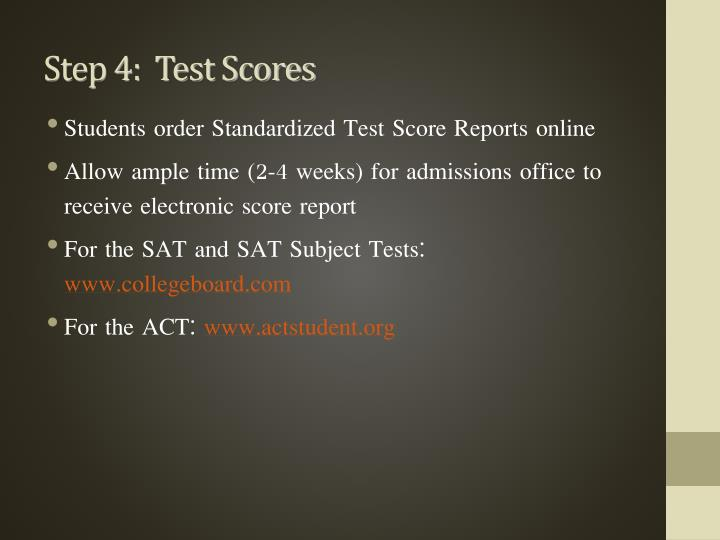 Step 4:  Test Scores