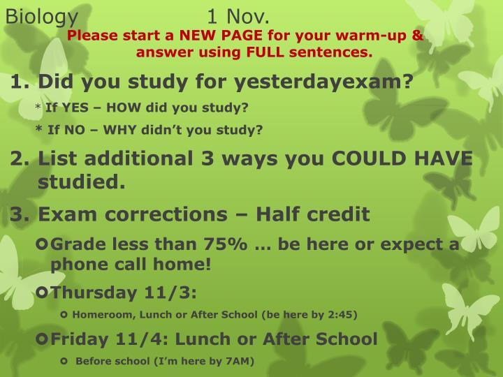 Biology1 Nov.