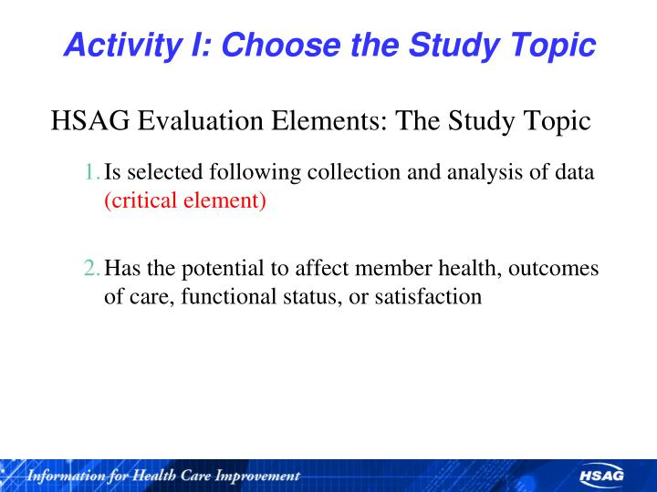 Activity I: Choose the Study Topic