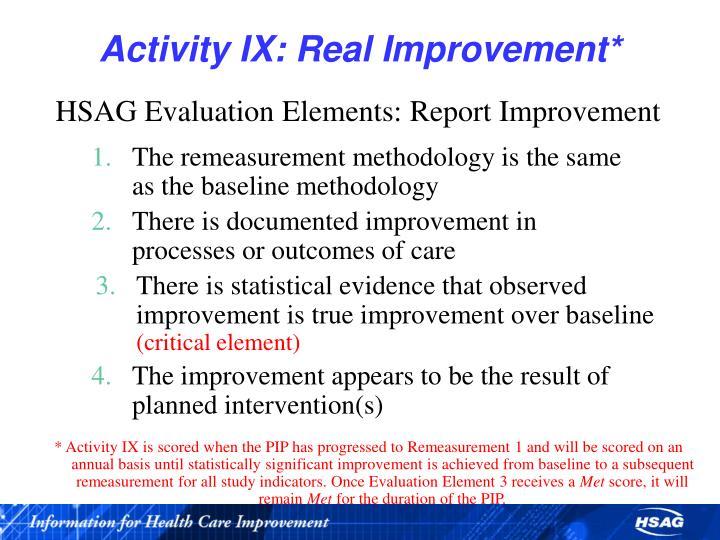 Activity IX: Real Improvement*