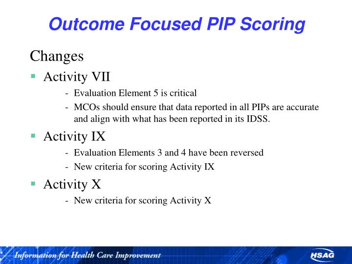 Outcome Focused PIP Scoring