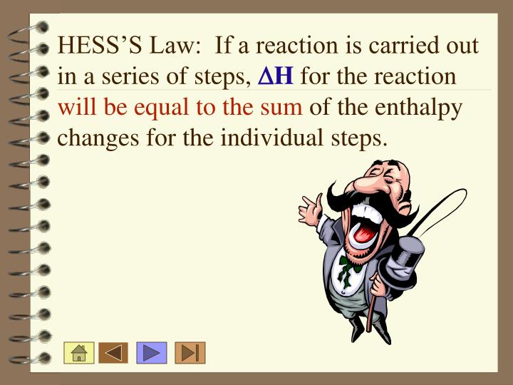 HESS'S Law:  If a reaction is carried out