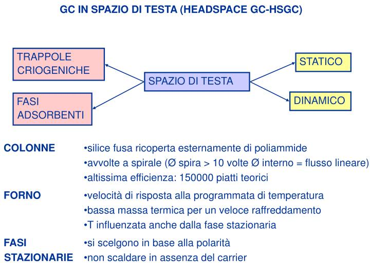 GC IN SPAZIO DI TESTA (HEADSPACE GC-HSGC)