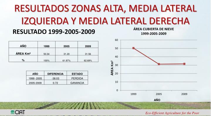 RESULTADOS ZONAS ALTA, MEDIA LATERAL IZQUIERDA Y MEDIA LATERAL DERECHA