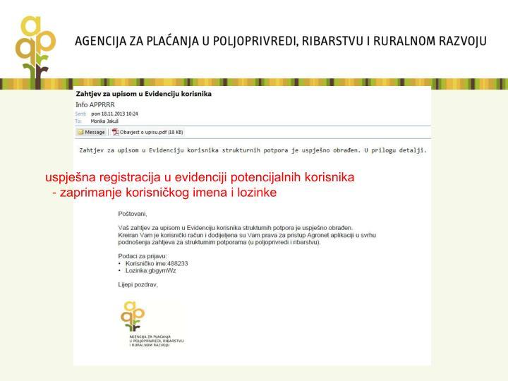 uspješna registracija u evidenciji potencijalnih korisnika