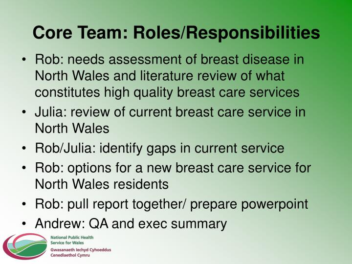 Core Team: Roles/Responsibilities