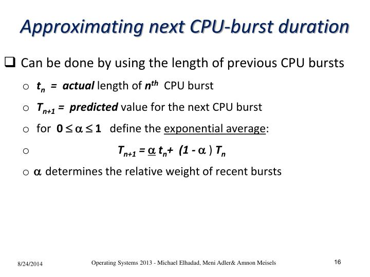Approximating next CPU-burst duration