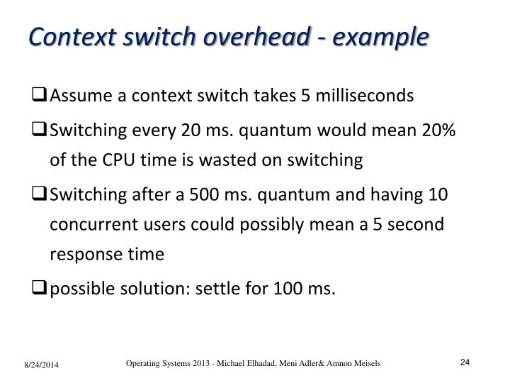 Context switch overhead - example