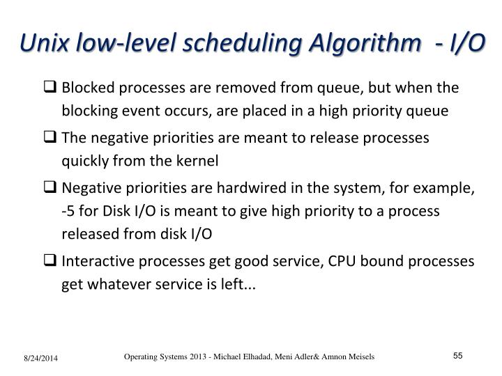 Unix low-level scheduling Algorithm  - I/O
