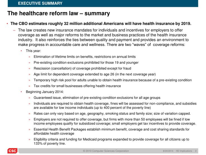 The healthcare reform law summary