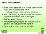 doel presentatie