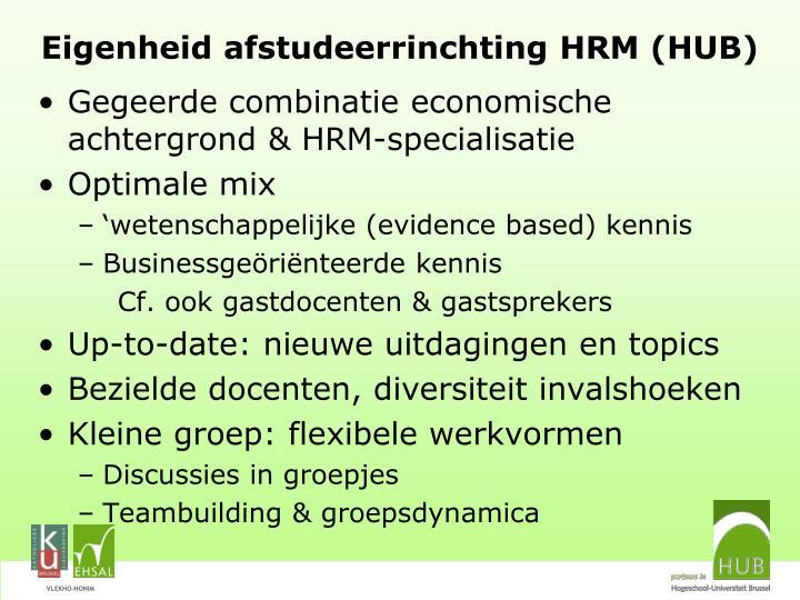 Eigenheid afstudeerrinchting HRM (HUB)