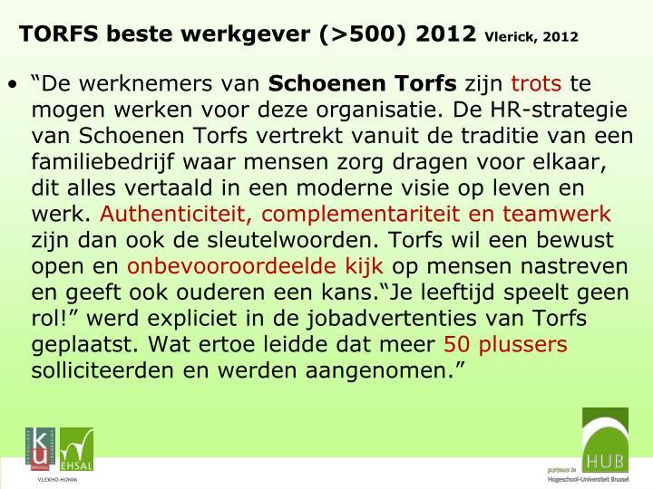 TORFS beste werkgever (>500) 2012