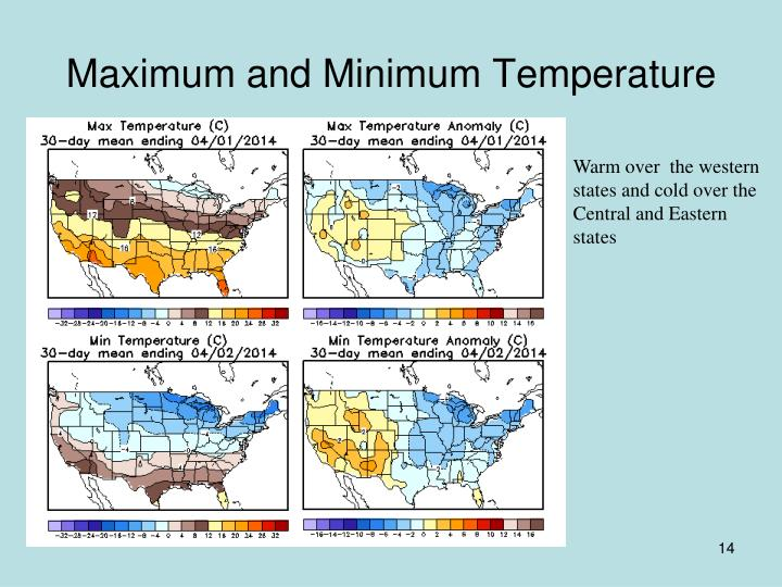 Ppt north american drought briefing for march 2014 and january march 2014 - Temperature minimum maison ...