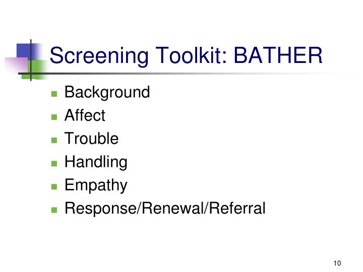 Screening Toolkit: BATHER