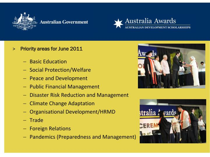 Priority areas for June 2011