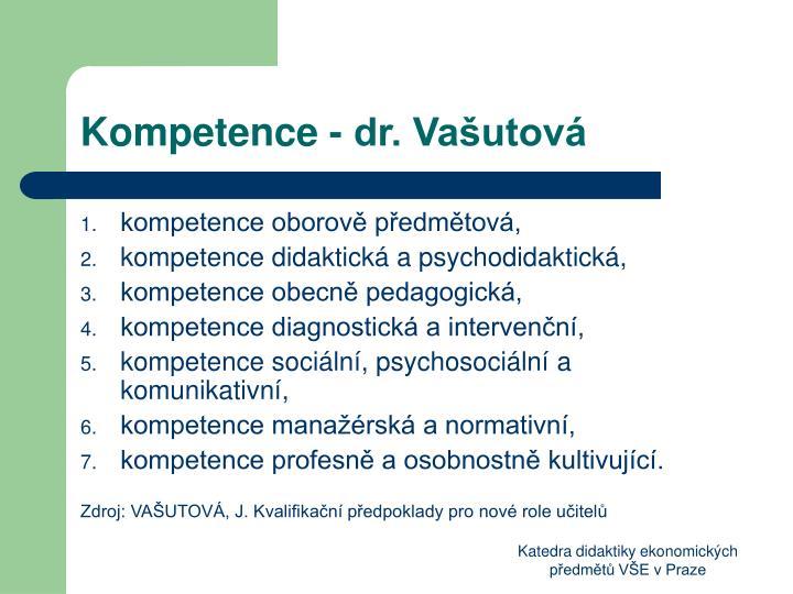 Kompetence - dr. Vašutová