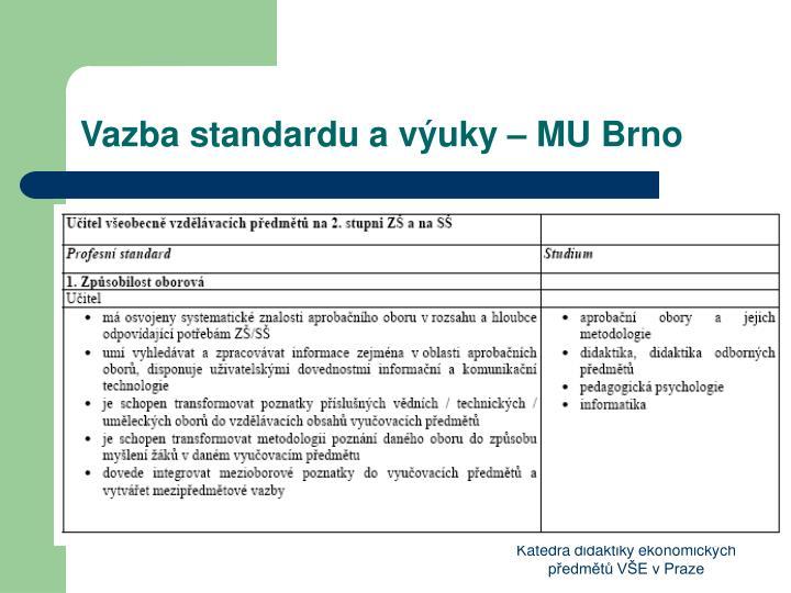 Vazba standardu a výuky – MU Brno