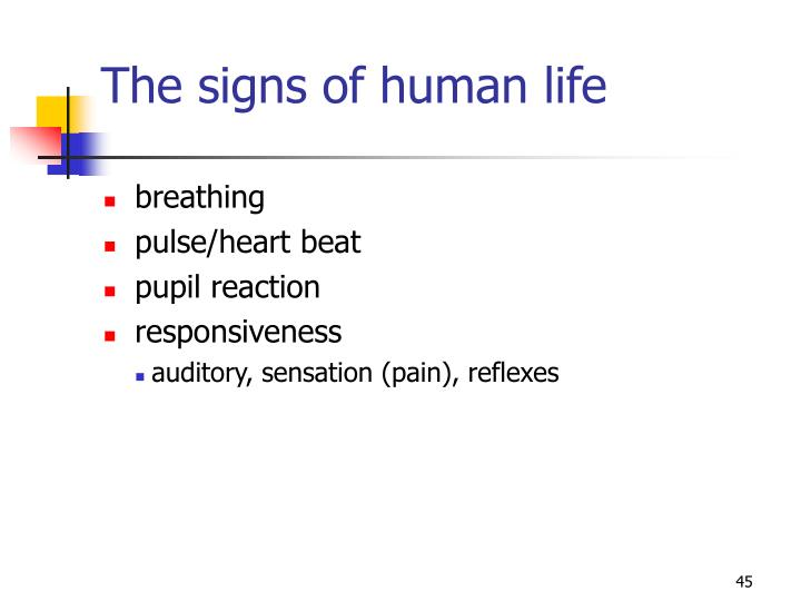 The signs of human life