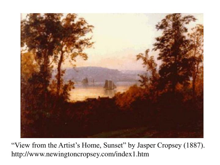 """View from the Artist's Home, Sunset"" by Jasper Cropsey (1887). http://www.newingtoncropsey.co..."
