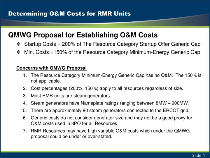 Determining O&M Costs for RMR Units