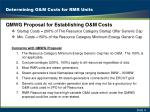 determining o m costs for rmr units